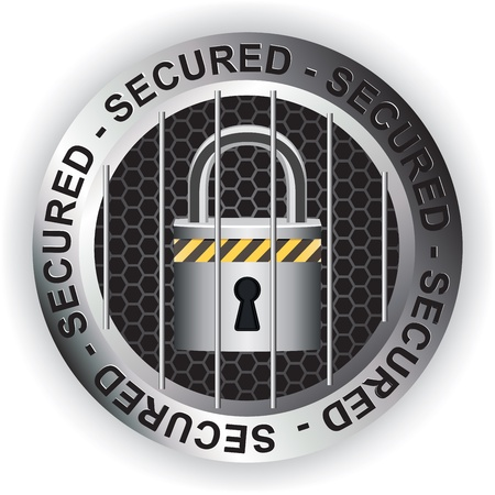 Secured Sign Silver Stock Vector - 17584722