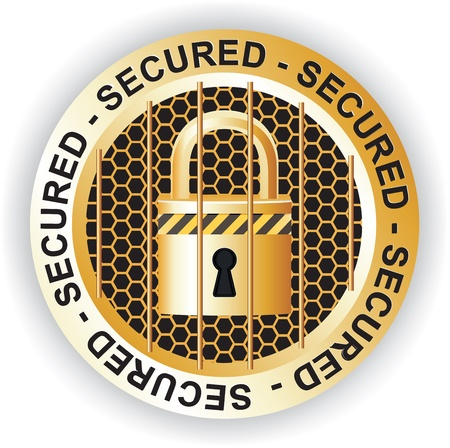 Secured Sign Gold Stock Vector - 17584725