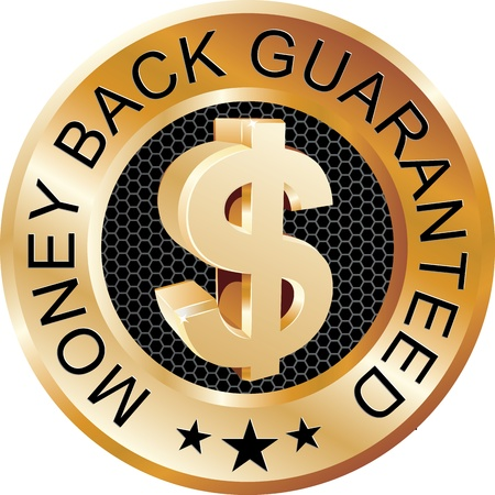 Money Back Guaranteed Gold Sign