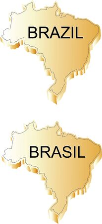 Brazil Gold Map Illustration