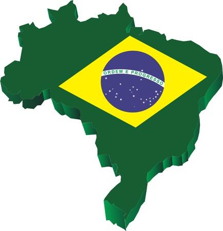 Brasil Mapa en 3D Foto de archivo - 17882506