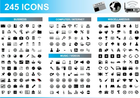 245 icon set Stock fotó - 18082235