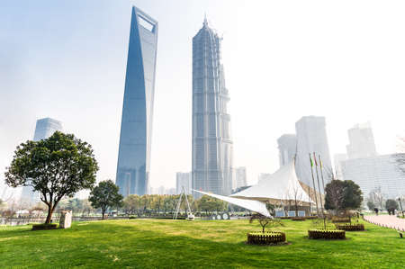 greenbelt park with lujiazui finance and trade zone in shanghai photo