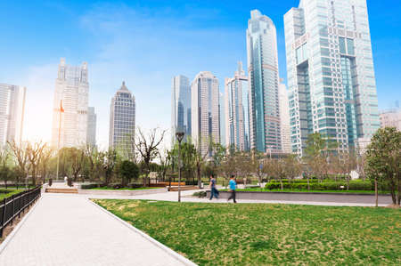 greenbelt park with lujiazui finance and trade zone in shanghai