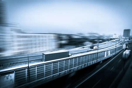 motion trucks on the freeway. Stock fotó