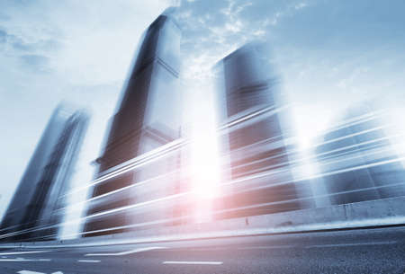 motion blur: Highway heading to the city,In the center of Shanghai China.