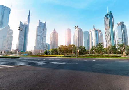 crossing a street: The century avenue of street scene in shanghai Lujiazui,China.