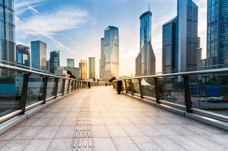 modern: the modern building of the lujiazui financial centre in shanghai china.
