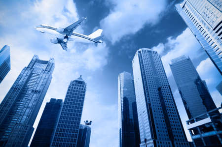 the airplane with the city scene background