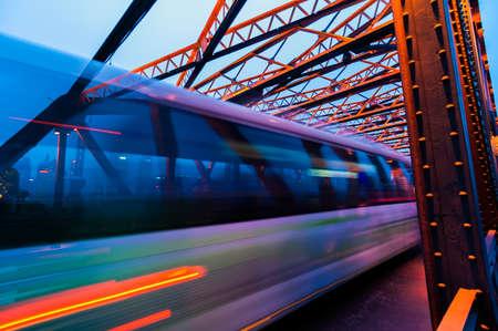 Night traffic lights inside of the Garden Bridge of shanghai china. Stock fotó
