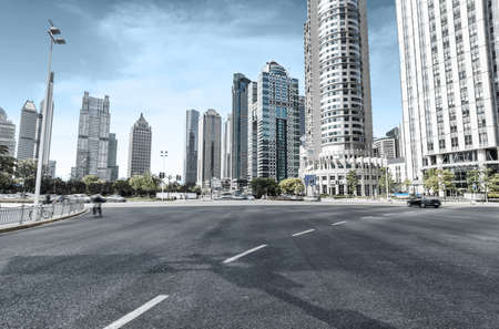 shanghai pudong skyline: The century avenue of street scene in shanghai Lujiazui,China.