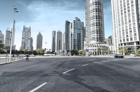 road: The century avenue of street scene in shanghai Lujiazui,China.