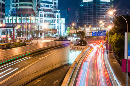 the light trails on the steet in shanghai china. Stock fotó