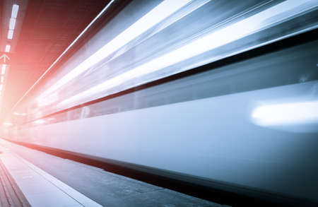 fast track: Fast train with motion blur.