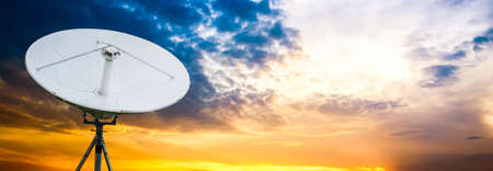 Satellite antenna dusk background photo