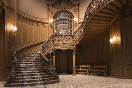 vintage mansion: Stairs in the Lviv ancient casino Stock Photo