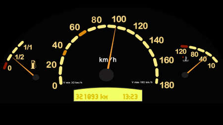 acceleration: speedometer and fuel gauge in a car
