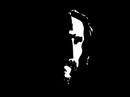 close up face: Jesus Profile Illustration