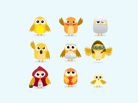 set of cute chicks Vector