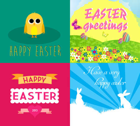 Happy easter cards illustration with easter eggs, easter chick, easter rabbit and font Stock Vector - 18497154