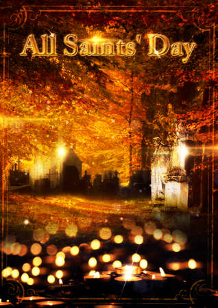 zealous: Poster for the feast of All Saints with candles and graveyard Stock Photo