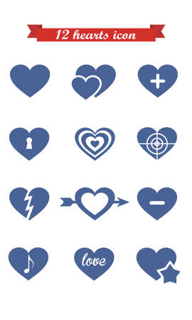 torn heart: collection of 12 vector icons of hearts