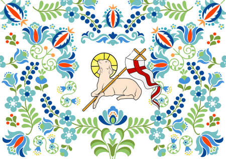 Polish floral folk embroidery pattern. Traditional folk pattern with lamb for Easter