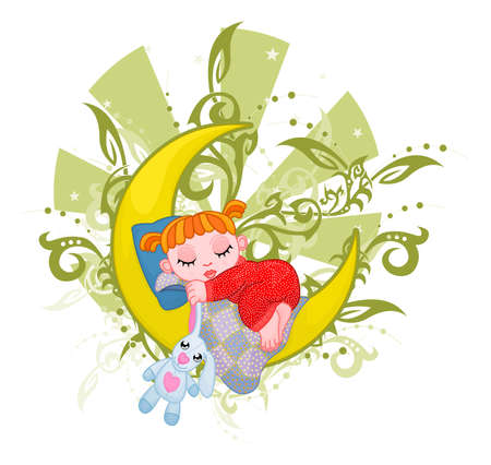 soft toy: Cute girl is dreaming on the crescent Illustration