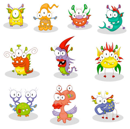 Cartoon monsters, goblins, ghosts Ilustracja