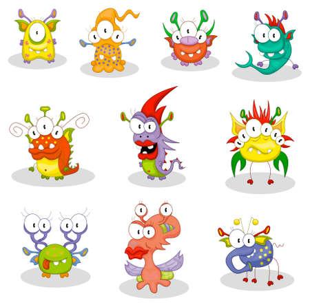 Cartoon monsters, goblins, ghosts Vector