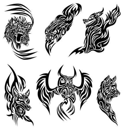 lion wings: Tatuaje de animales salvajes Vectores