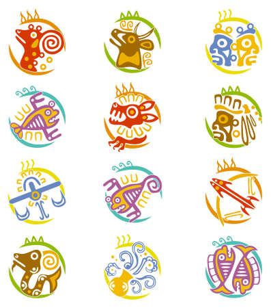 signes du zodiaque: Art Maya stylisés signes du zodiaque