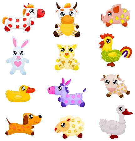 vaca caricatura: Animales dom�sticos de juguete Vectores