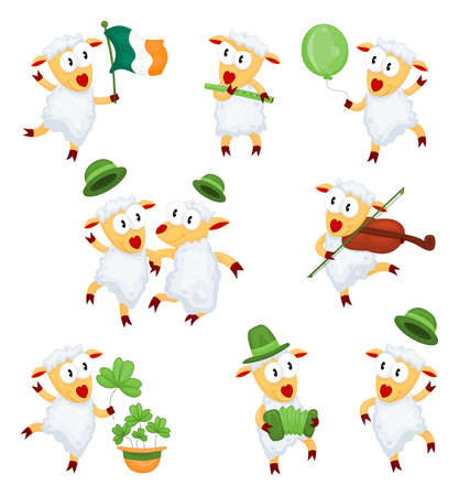 Happy  funny lambs are dancing and playing music on St. Patrick's Day Stock Vector - 8910886