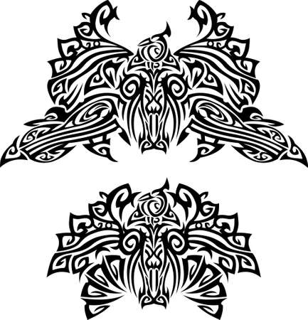 Two tattoo with fantasy birds. Mixed design of two styles: tribal and modern Vector