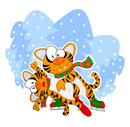 Figure skating tigers Stock Vector - 8910868
