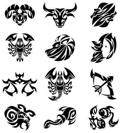 abstract zodiac: Tribal signs of the zodiac Illustration