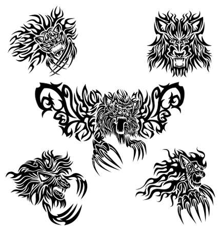tribalism: Tattoo lions Illustration