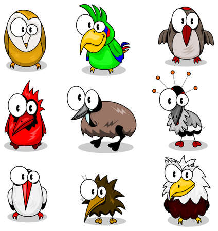 Collection of cartoon birds Stock Vector - 8910936