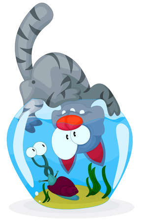 Cat and snail Stock Vector - 8910926