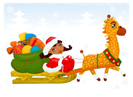 sledge dog: Girl with giraffe and gifts