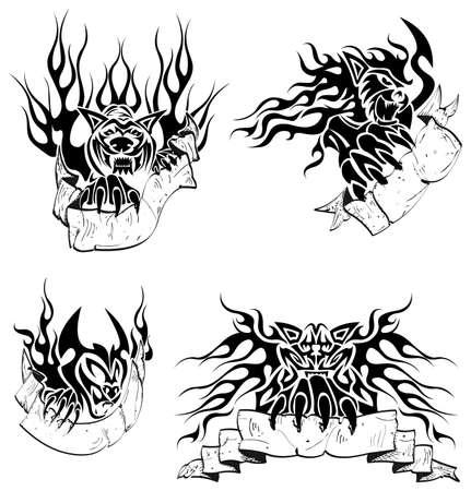 Tribal big cats with labels Vector