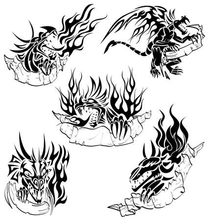 tribalism: Tribal dragons with labels Illustration