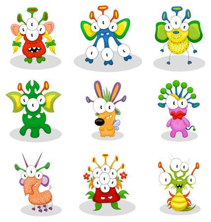Cartoon monsters, goblins, ghosts Illustration