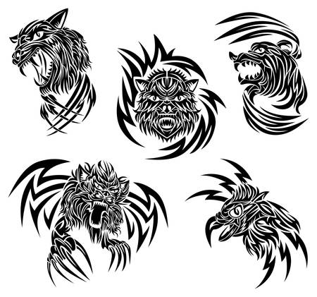 Wild animals tattoo Stock Vector - 9312607