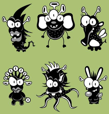Cartoon monsters, goblins, ghosts, aliens