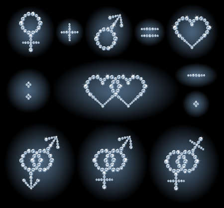 Diamond symbols: gender symbols, couples, heart shapes and mathematical signs Editorial