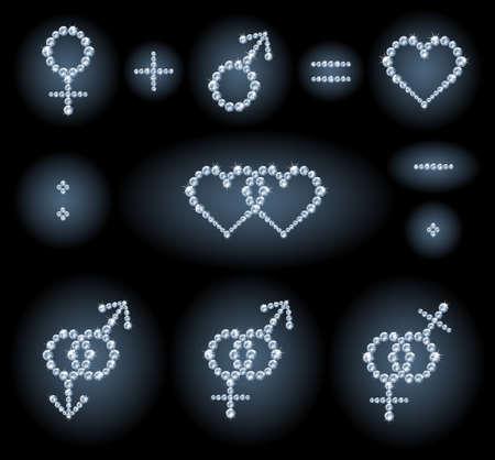 S�mbolos de diamantes: s�mbolos, parejas, formas de coraz�n y signos matem�ticos de g�nero