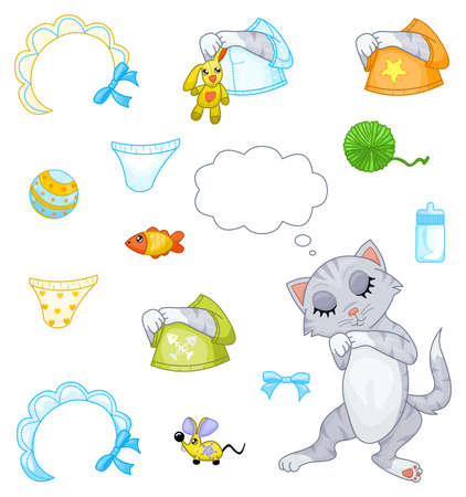 baby goods: Sleeping kitten Illustration