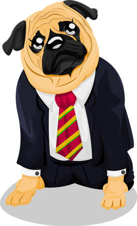 Pug in business suit Vector